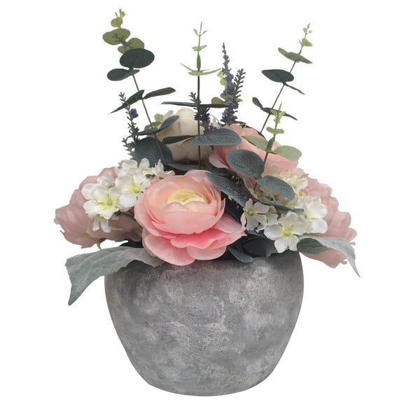 Peony Artificial Ranuncular and Eucalyptus in Grey Pot 38cm Pink