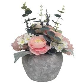 Peony Artificial Ranuncular and Eucalyptus in Grey Pot 38cm