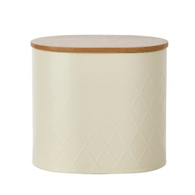 Metal Cream Geometric Small Kitchen Canister