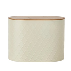 Metal Cream Geometric Bread Bin