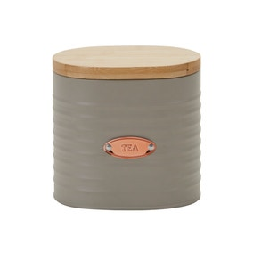 Metal Grey and Copper Tea Canister