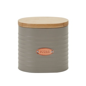Metal Grey and Copper Sugar Canister