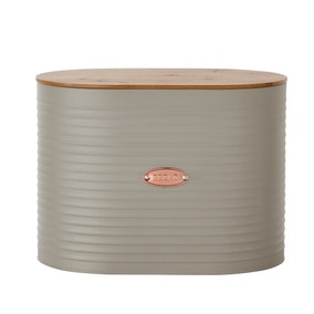 Metal Grey and Copper Bread Bin