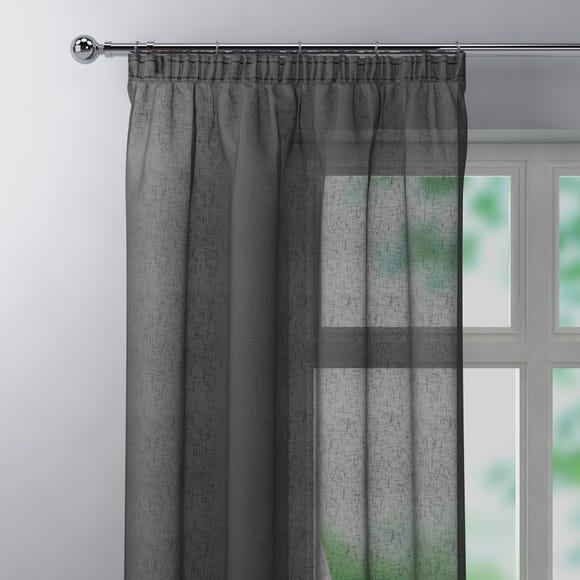Boucle Charcoal Pencil Pleat Single Voile Panel Charcoal undefined