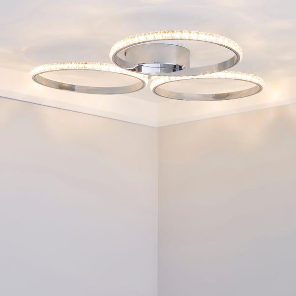 Oraylia 3 Light Integrated LED Hoops Jewel Chrome Ceiling Fitting Chrome