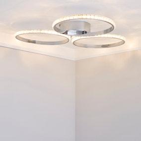 Oraylia 3 Light Integrated LED Hoops Jewel Chrome Ceiling Fitting