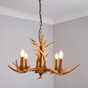 Antler 4 Light Candelabra Wood Effect Ceiling Fitting
