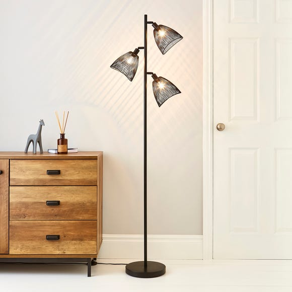 Jaula 3 Light Black Floor Lamp Black