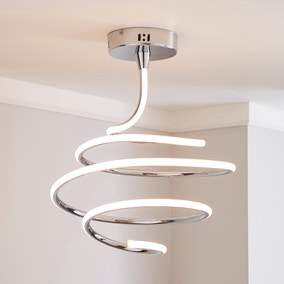 Byron Integrated LED Swirl Chrome Ceiling Fitting