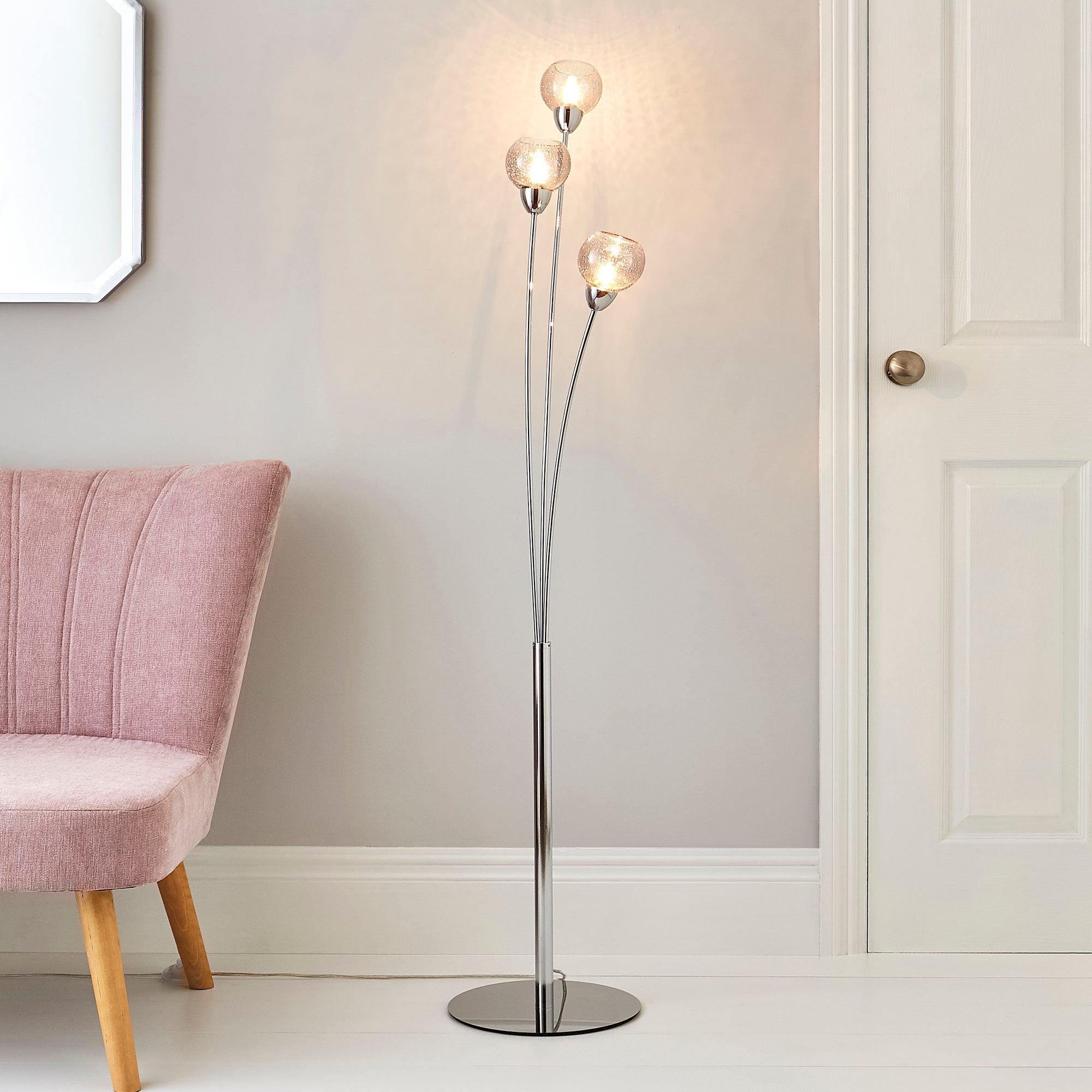 Kelly 3 Arm Bubble Glass Floor Lamp Silver