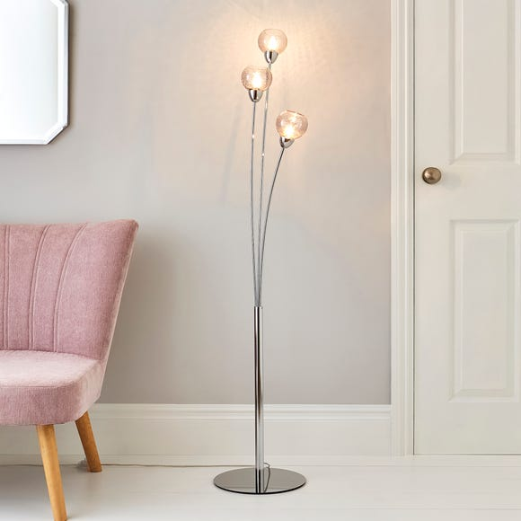 Kelly 3 Arm Bubble Glass Floor Lamp Silver