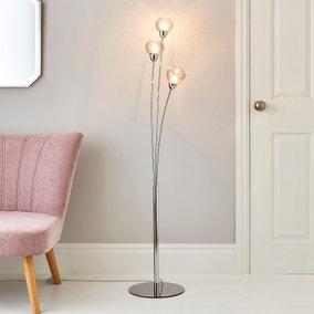 Kelly 3 Arm Bubble Glass Floor Lamp