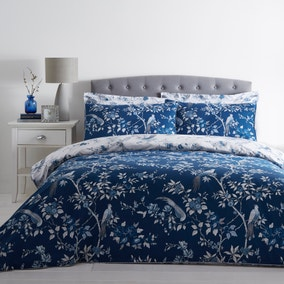 Oriental Bird Blue Duvet Cover and Pillowcase Set