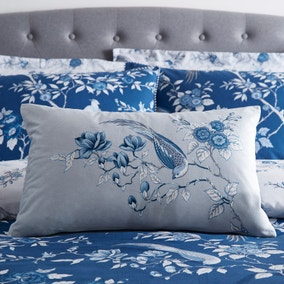 Oriental Bird Blue Boudoir Cushion