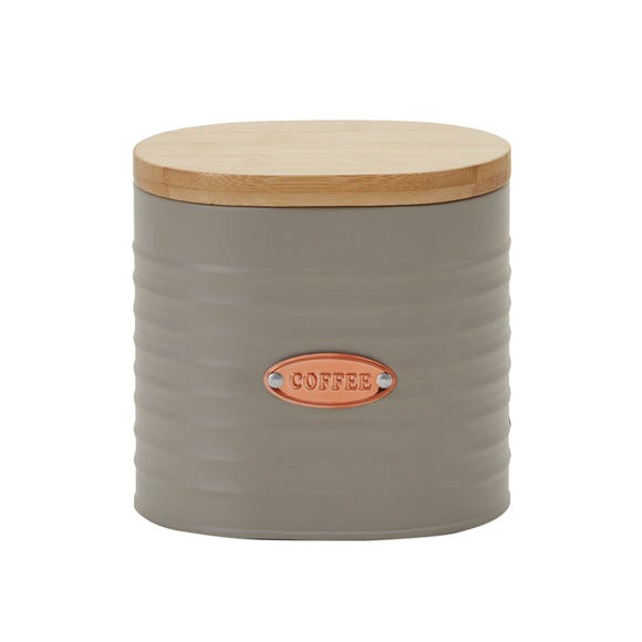 Metal Grey and Copper Coffee Canister Grey