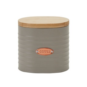 Metal Grey and Copper Coffee Canister