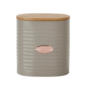 Metal Grey and Copper Biscuit Canister