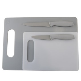 Chopping Board & Soft Grip Knife Set