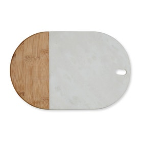 Marble and Wood Curved Serving Board