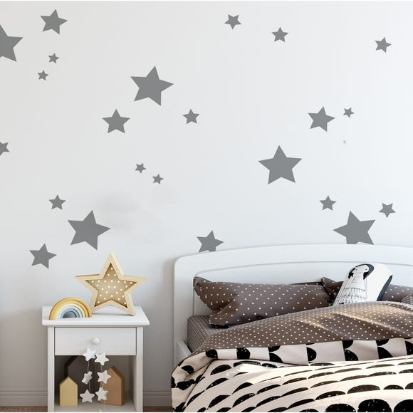 Grey Stars Wall Stickers Grey