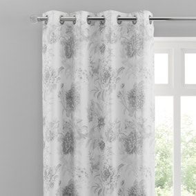 Gracey Grey Floral Eyelet Curtains
