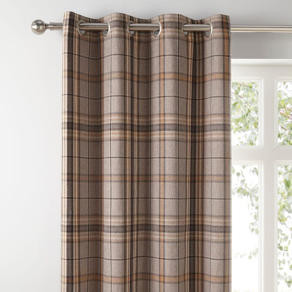 Melrose Natural Check Eyelet Curtains  undefined