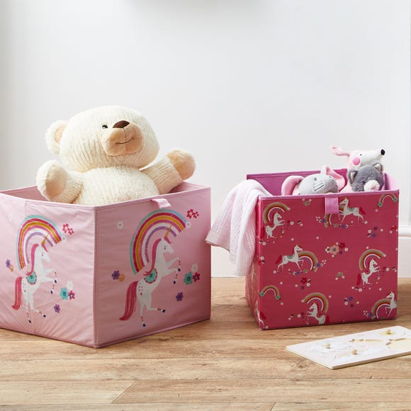 Unicorn Pack of 2 Collapsible Storage Boxes Pink