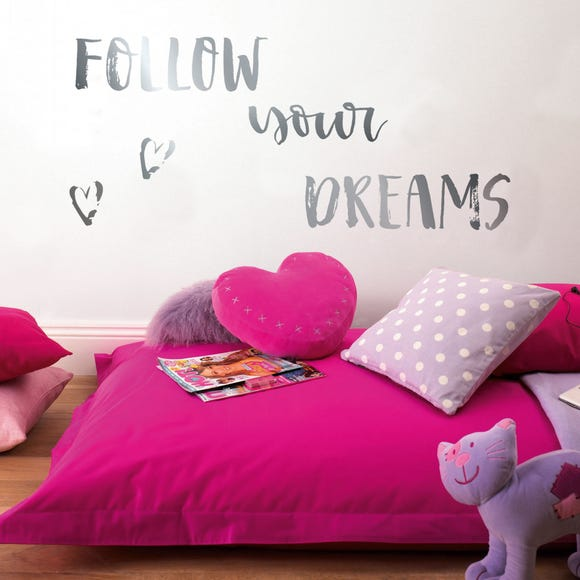 Follow Your Dreams Metallic Wall Stickers Silver