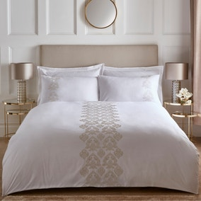 Calera Embroidered Natural Duvet Cover and Pillowcase Set