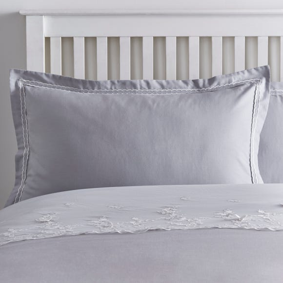 Butterfly Lace Oxford Pillowcase Grey Grey