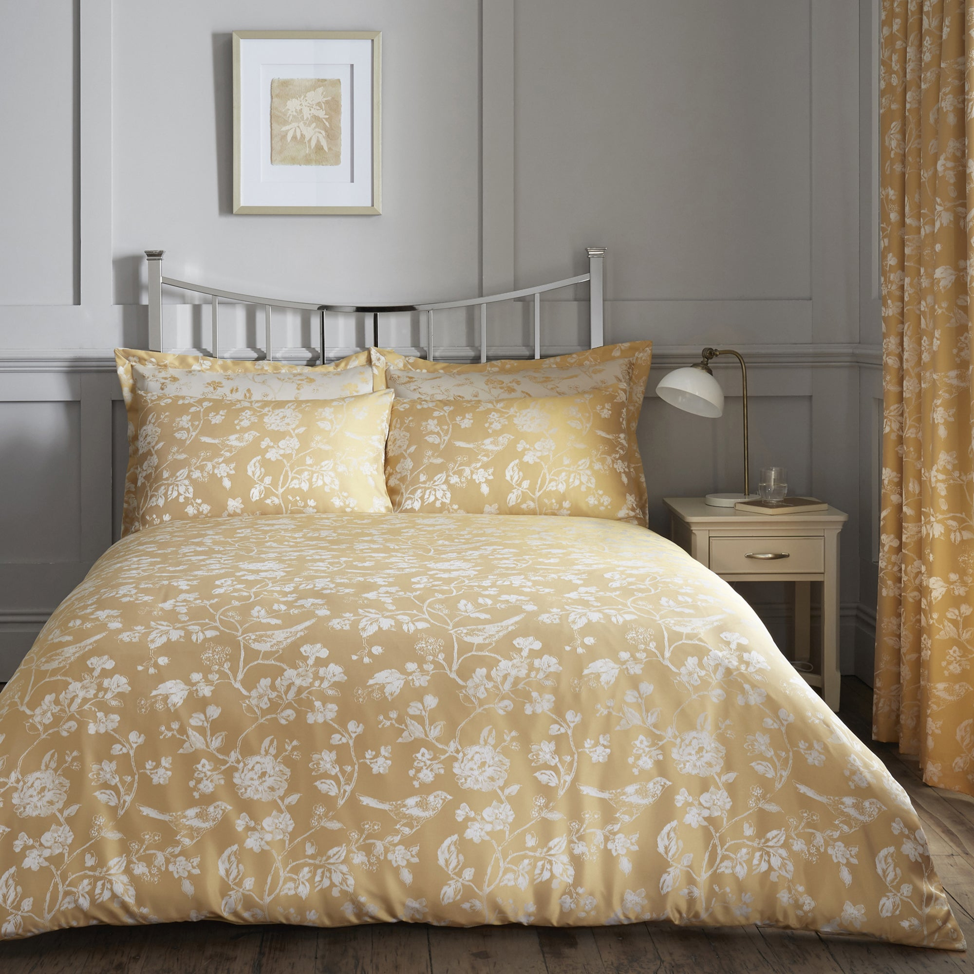 Photo of Marianne gold jacquard duvet cover and pillowcase set gold