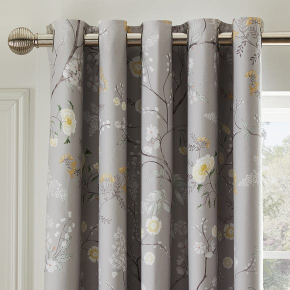 Dorma Maiya Grey Blackout Eyelet Curtains Grey undefined