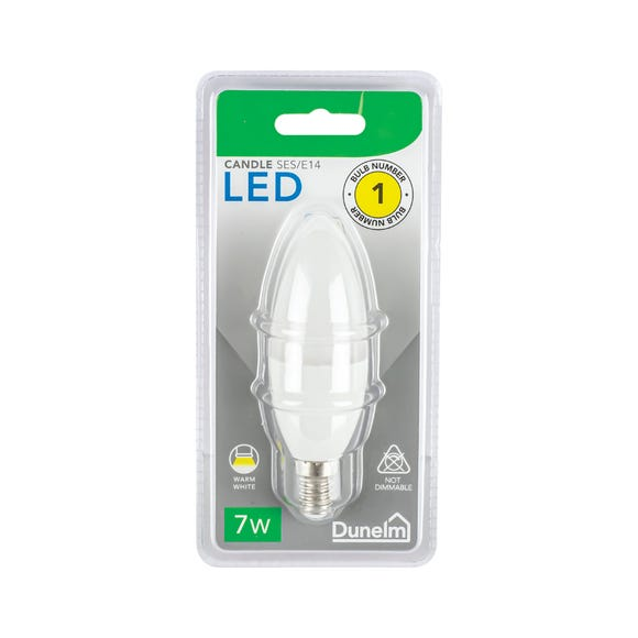 Dunelm 7 Watt SES Pearl LED Candle Bulb White