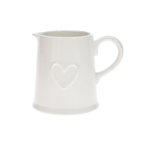 Country Heart Pint Jug White