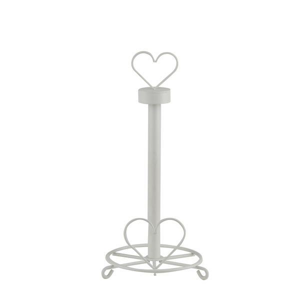 Wire Heart Kitchen Roll Holder White
