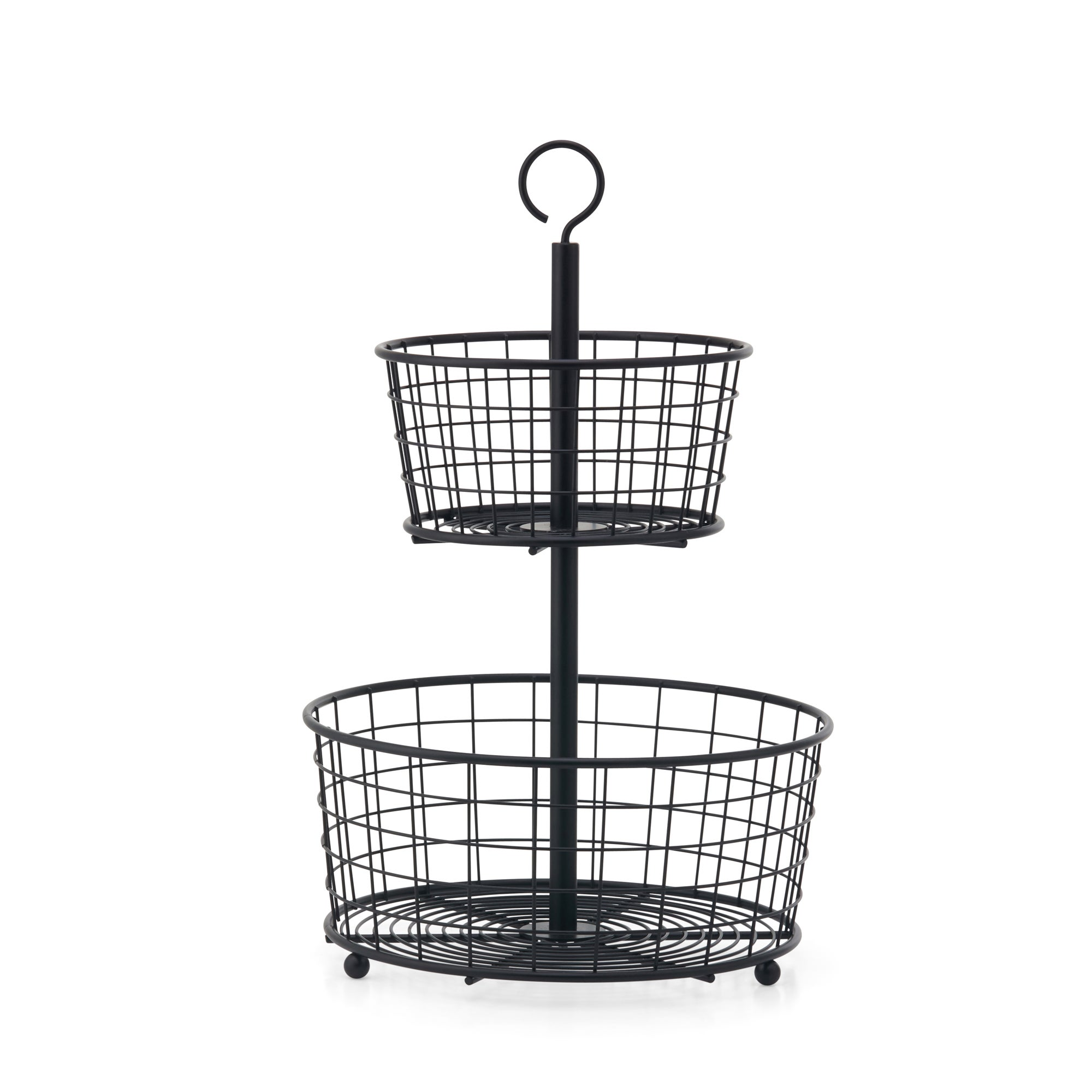 2 Tier Wire Fruit Bowl Black
