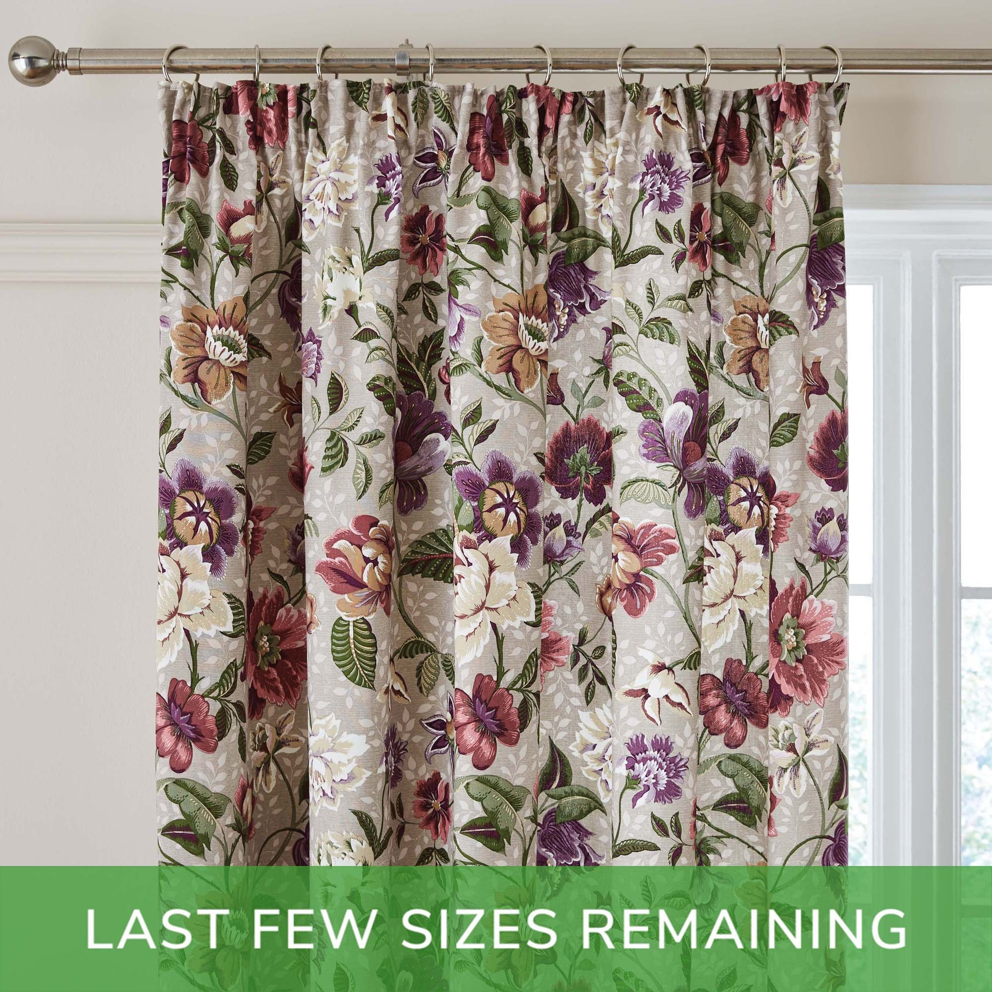 Photo of Maddie floral plum pencil pleat curtains purple and cream
