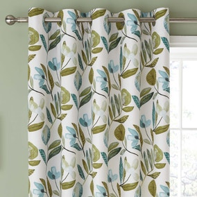 Modern Botanical Green Eyelet Curtains