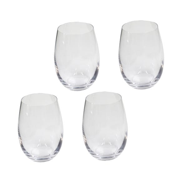 Set of 4 Stemless Wine Glasses Clear