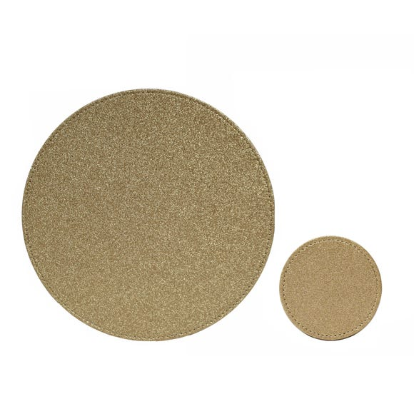 Set of 4 Gold Glitter Placemats and Coasters Gold