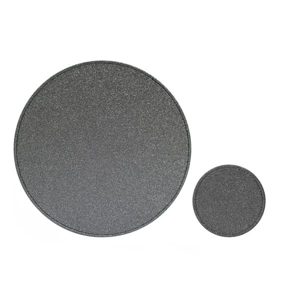 Set of 4 Charcoal Glitter Placemats and Coasters Charcoal