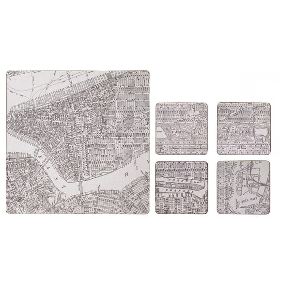 Set of 4 Map Print Placemats and Coasters Black