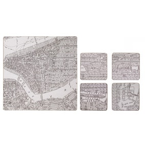 Set of 4 Map Print Placemats and Coasters