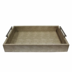 Faux Leather Champagne Snake Print Effect Lap Tray