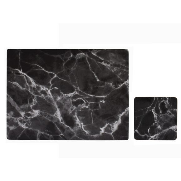Set of 4 Black Marble Effect Placemats and Coasters Black