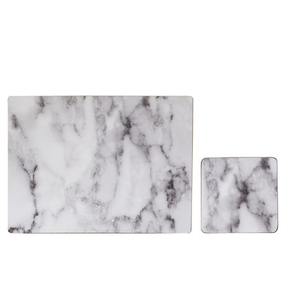 Set of 4 White Marble Effect Placemats & Coasters White
