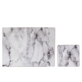 Set of 4 White Marble Effect Placemats & Coasters