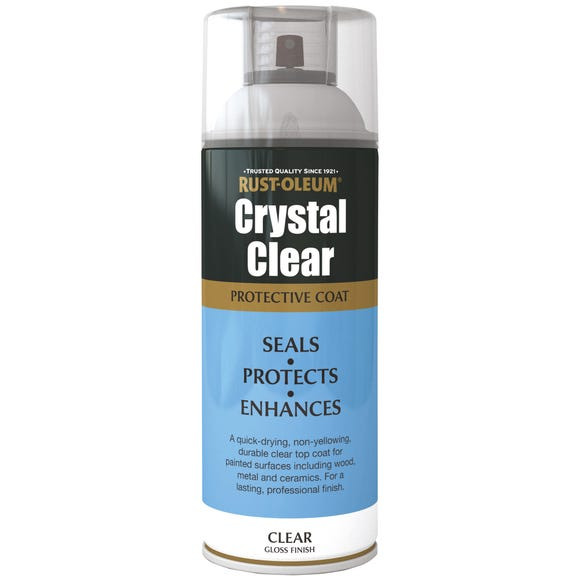 Rust-Oleum Crystal Clear Gloss Protective Top Coat 400ml Clear undefined