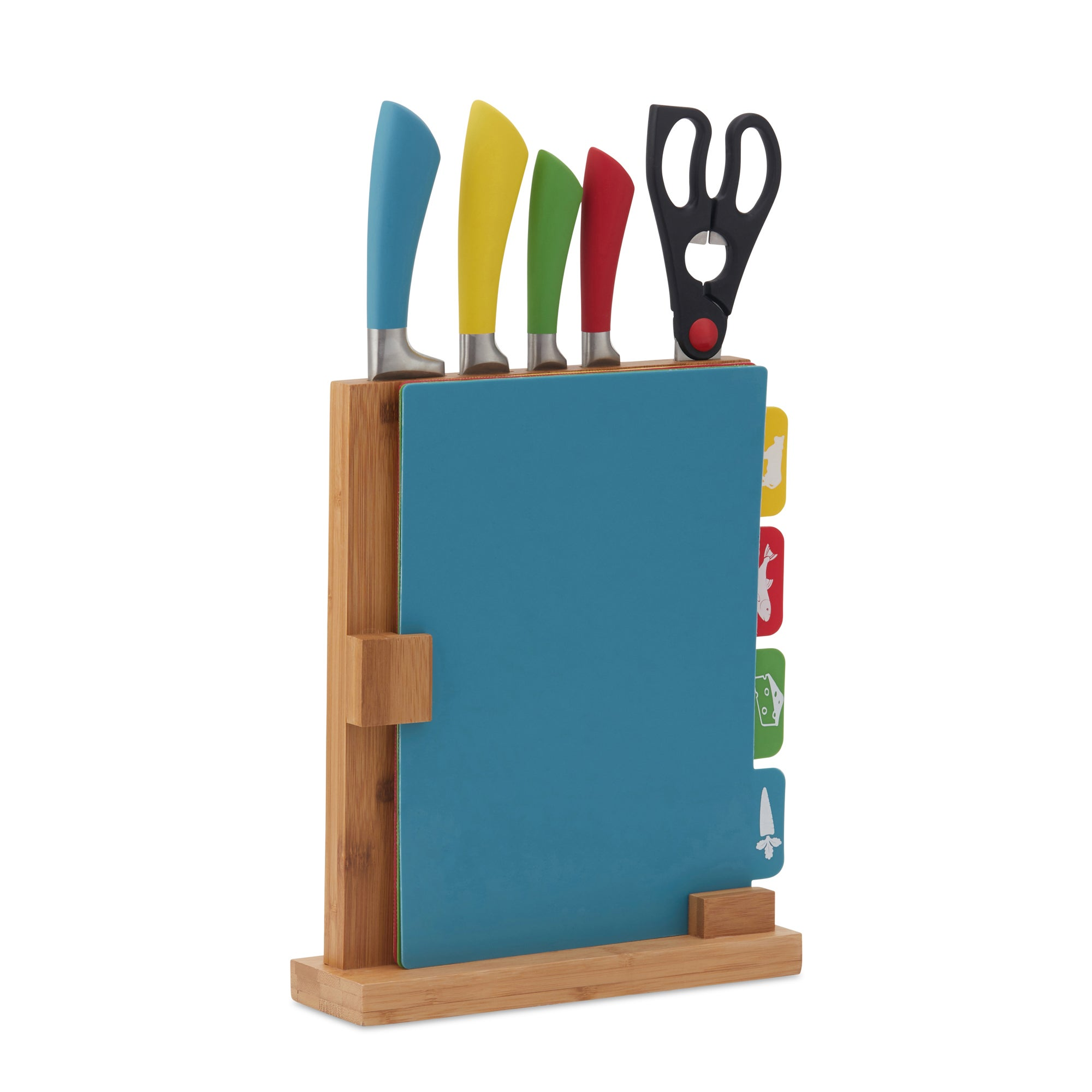 5 Piece Colour Soft Grip Knives and Chopping Board Set Blue, Brown and Yellow