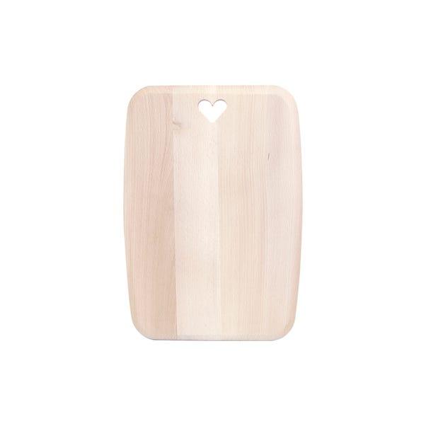 T&G Rectangular Beech Wood Board with Heart Detailing Brown